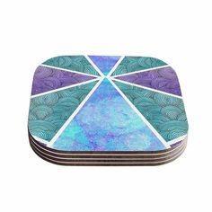 Kess InHouse Pom Graphic Design 'Reflective Pyramids' Teal Coasters