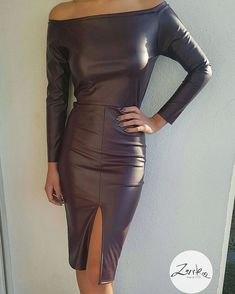 Adoring Rasin Full Sleeves Leather Dress With Front Slit