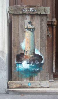 Bois flotté Acrylique. Lighthouse painting on driftwood.