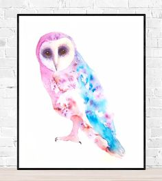 original owl painting-uilen aquarel-uilen kunst uil