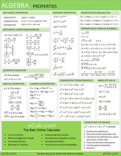 Algebra Properties Sheet- I'm sure that at the rate K is running with math in the 3rd grade, they should be to this by the end of the year. :S (No, I'm not serious, but geese though.):