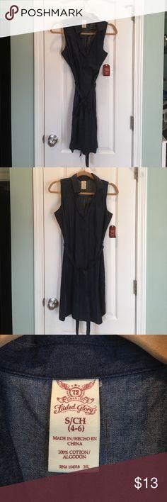 NWT Faded Glory Dark Denim Shirt Dress Sz Small NWT Faded Glory Dark Denim Sleeveless Shirt Dress Sz Small Faded Glory Dresses