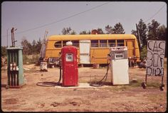 Cut-Rate Gas Station Operates Out of Bus, 06/1972 | Flickr - Photo Sharing!