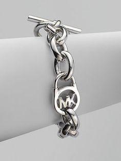 Michael Kors Logo Lock Chain Link Bracelet/Silvertone on shopstyle.com