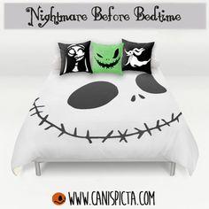 Nightmare Before Christmas Bedding Duvet Jack Skellington Bed Set Pillow Cover Bedroom Decor Decorative Halloween Tim Burton Skull Skeleton Movie Fan