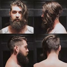 Angled Undercut with Thick Beard