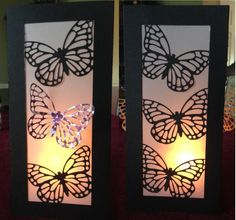 Saw this on Etsy and thought I can make that! This is a view of both sides. Use with a battery operated candle or string of lights. Would be cute for a wedding centerpiece. Made with Stampin' Up! Butterfly Framelits.