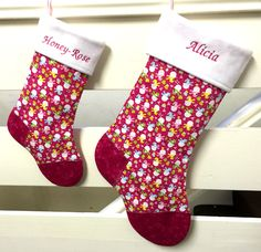 Personalised Christmas Stocking - Pink Snowman - Xmas, Gift, Handmade, named in Home, Furniture & DIY, Celebrations & Occasions, Christmas Decorations & Trees   eBay