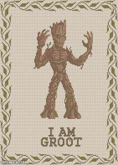 I Am Groot Cross Stitch Pattern by StitchBucket on Etsy, $3.99