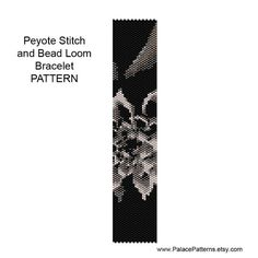 This bracelet pattern is bead loom weaving or single peyote stitch, using a Delica 11/0 seed bead palette. Both versions are included in the