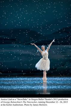"""Jessica Lind as a """"Snowflake"""" in Oregon Ballet Theatre's 2015 production of """"George Balanchine's The Nutcracker,"""" running December 12 - 2015 at the Keller Auditorium. Photo by James McGrew. Tutu Ballet, Ballet Art, Ballet Dancers, Shall We Dance, Lets Dance, George Balanchine, Ballet Theater, Ballet Beautiful, Tiny Dancer"""