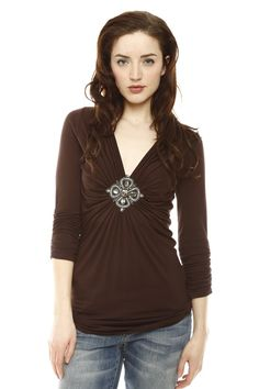 Jeweled V-Neck Blouse. Very pretty, just needs a undershirt to make the neck not quite so low