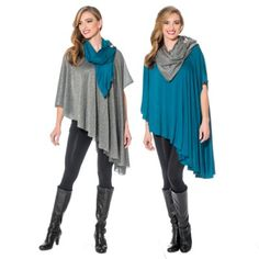 A Teal Short Shawl and Charcoal Shimmer Short Knit are sure to be a hit at your holiday soirees.