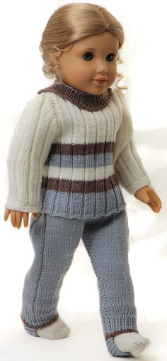 Knitting patterns for dolls clothes - Everyday casual outfit in delight summer colors