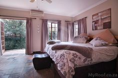 Lovely bedroom opening out to the garden seen in exclusive estates at myroof.co.za Luxury Estate, Bedrooms, Garden, Furniture, Home Decor, Garten, Decoration Home, Room Decor, Bed Room