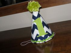 Custom Birthday Hat First Birthday Party Green Navy Blue Chevron 1st Birthday Outfit Toddler Baby Boy or Girl