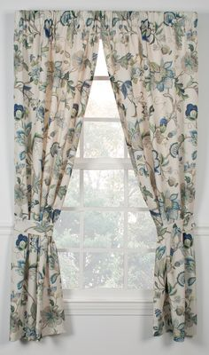 70 wide, with tiebacksBlue or Red Cafe Curtains, Valance Curtains, Valances, Glass Door Coverings, Living Room Redo, Printed Curtains, Jacobean, Curtain Fabric, Window Treatments