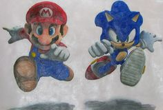 mario and sonic painting