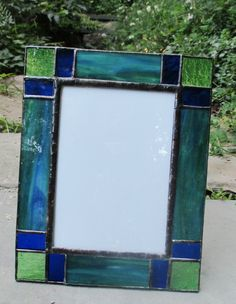Stained Glass Frame for 5 x 7 Photo by OriAnnaGlassArt on Etsy