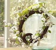 Faux dogwood wreath from Pottery Barn