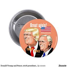 Donald Trump and Pence. 2016 presidential election 5.7cm 丸型バッジ