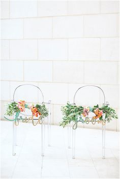 Watercolor Wedding Inspiration | Ghost Chairs | Lasercut Chair Decor by NicRoc Designs | Izzy Hudgins Photography