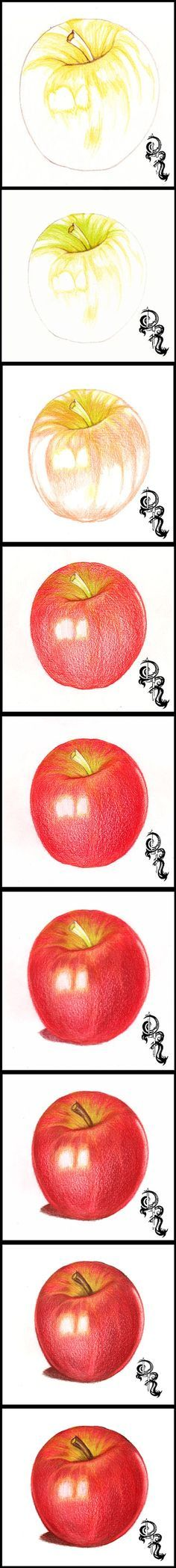 How to Draw an Apple with Colored Pencils.   A step-by-step image of a colored pencil #artlesson by Derrick Rathgeber. Click the image for full details instructions on my blog page.   http://derricktheartist.blogspot.com/2013/08/how-to-color-delicious-pink-lady-apple.html: