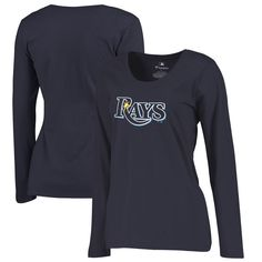 Tampa Bay Rays Women's Plus Sizes Primary Team Logo Slim Fit Long Sleeve T-Shirt - Navy