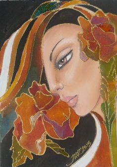 Woman flower - miniature 12,5x18cm