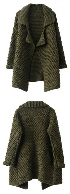 Love this  army green lapel chunky knit cardigan.