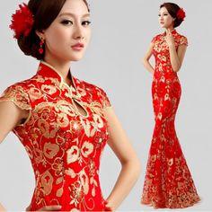 Red Sequin Cap Sleeve Mermaid Vintage Cheongsam Style Wedding Dresses SKU-1221041
