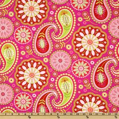 Designed by Pillow and Maxfield for Michael Miller Fabrics, this floral cotton print fabric features a color palette of red, white, lime and fuchsia.  Use fabric for quilts, home décor accents, craft projects and apparel.