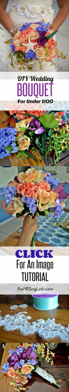 Customize your own wedding bouquet, and stay on budget by doing a DIY flower wedding bouquet with a complete step-by-step image tutorial.