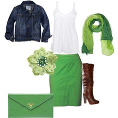 Supper cute St. Patrick's day outfit just wish i had it for tomorrow !!!!! LOVEEEE this color of green btw !! ;]]