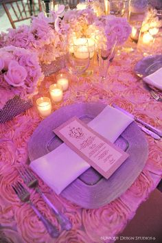 Dominique & Dawan Landry's pink and silver tablescape featuring blossom linens and silver sparkle charger. Wedding and design by Tiffany Cook Events