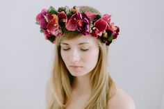 Stunning summer/spring Orchid flower crown, headpiece, flower wreath. Bridal bohemian headpiece. Perfect for a wedding party, style photo shoot or
