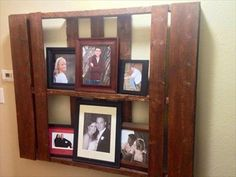 Recycled pallet rustic picture frame for wall