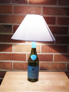 Items similar to Upcycled Wine Bottle Table Lamp on Etsy Table Lamps, A Table, Brass Lamp, Light Bulb, Wine, Lighting, Bottle, Etsy, Home Decor