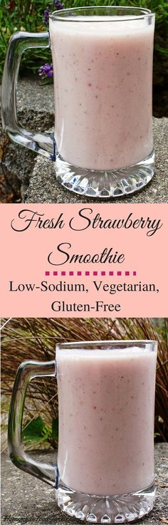 Fresh Strawberry Smoothie low sodium, gluten free http://HomemadeFoodjunkie.com