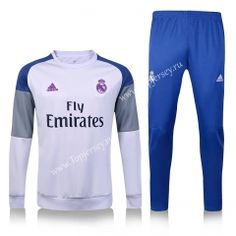 2016-17 Real Madrid Round Collar White and Blue Thailand Soccer Tracksuit  Sweatshirt Homme 63dfa6593e5fa