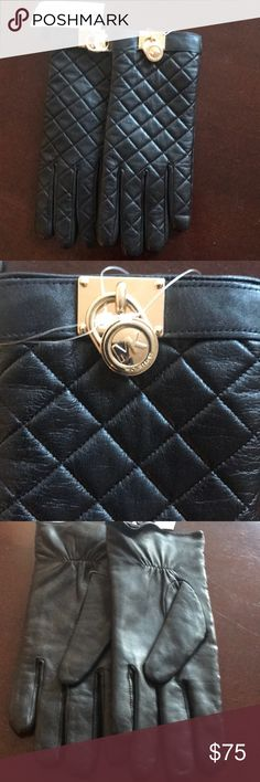 Michael Kors Black Leather Gloves Sz L Brand new pair of gloves with MK Lock . Great gift for the holidays . #xmasgift MICHAEL Michael Kors Accessories Gloves & Mittens