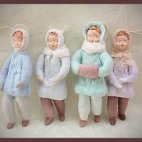 Современные ватные елочные игрушки по старинным технологиям, Наталья Родина (Россия)