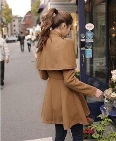 Beautiful Fashion Cape Stylish Women's Woolen Trench Coats