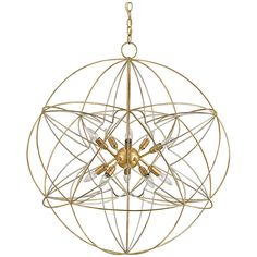 Currey and Company Zenda Orb Gold Leaf Chandelier