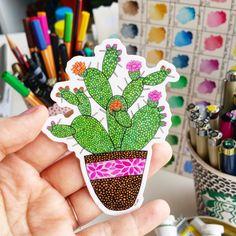 """Vinyl Sticker """"Cactus"""" Waterproof Sticker Cactus Sticker Decal Laptop Sticker Diary Sticker Phone Sticker by NicoleStefanieDesign on Etsy https://www.etsy.com/listing/247902933/vinyl-sticker-cactus-waterproof-sticker"""