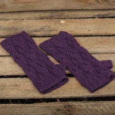 Alpaca fingerless gloves in purple haze.