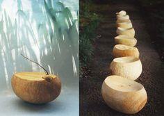 銀杏の木のコロン君たち。コロコロしてかわいいのでこんな名称にする。削るという単純さに埋没していた。その後、コロン君たちは中をえぐられて、鉢になったものも。