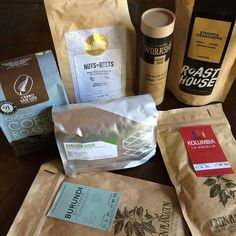 The coffee haul for the #BaratzaNorCalTeam from #scaa2015 The future is looking v tasty thanks to @chocfishcoffee @enjoysupersonic @lacolombecoffee @theroasthouse @papapalheta and the World Aeropress champ shared his #GreenPlantation Coffee from Slovakia