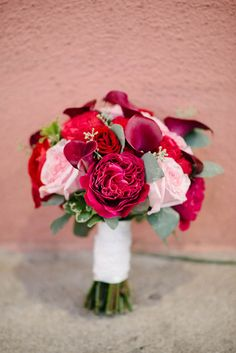 Romantic pink and red wedding bouquet