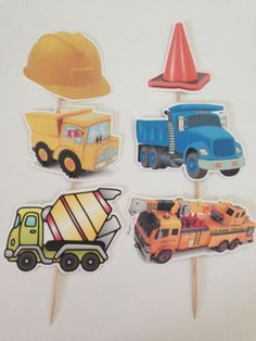 Construction Cupcake Toppers by DianasDen on Etsy, $10.00